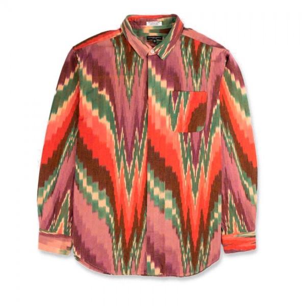 Engineered Garments Short Collar Shirt (Purple Green Cotton Ikat)