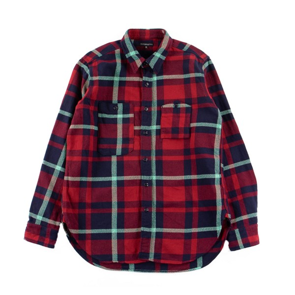 Engineered Garments Work Shirt (Red/Navy/Teal Heavy Twill Plaid)