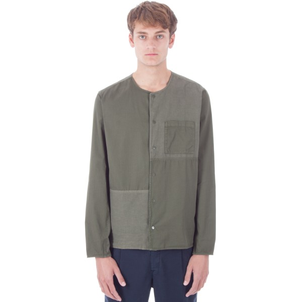 Folk Combination Pop Stud Shirt (Field Green)