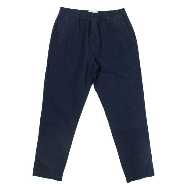 Folk Cotton Linen Trouser (Summer Navy)