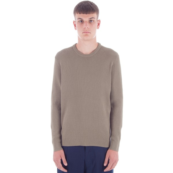 Folk Cotton Waffle Knit Crew Neck Sweatshirt (Military Green)