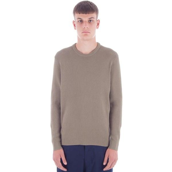 Folk Cotton Waffle Knit Crew Neck Sweatshirt (Military Green)