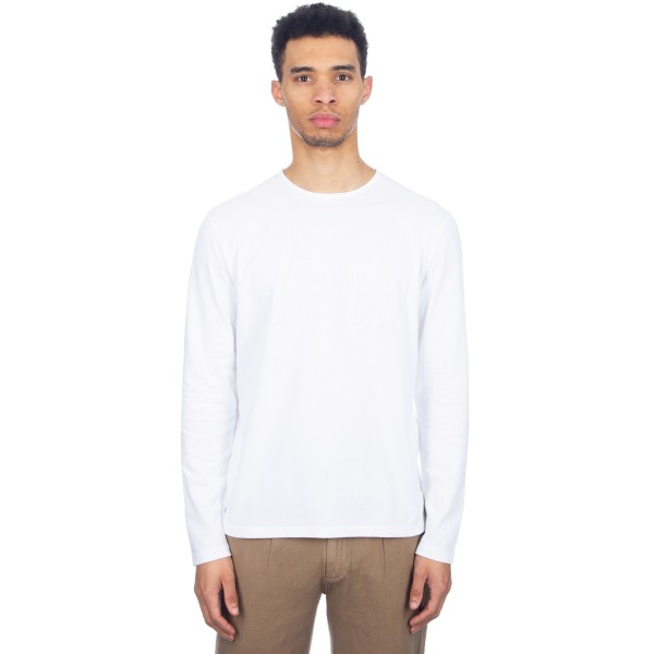 Folk Deboss Pocket Long Sleeve T-Shirt (White)