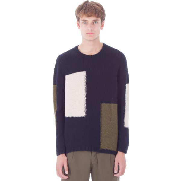 Folk Interference Crew Jumper (Navy Mix)