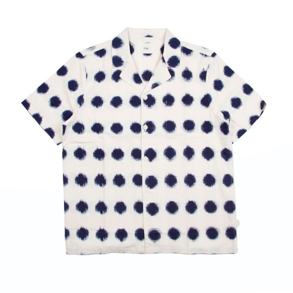 Folk Soft Collar Shirt (Ecru/Indigo Dot Ikat)