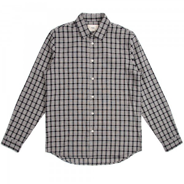 Folk Storm Shirt (Black Ecru Check)