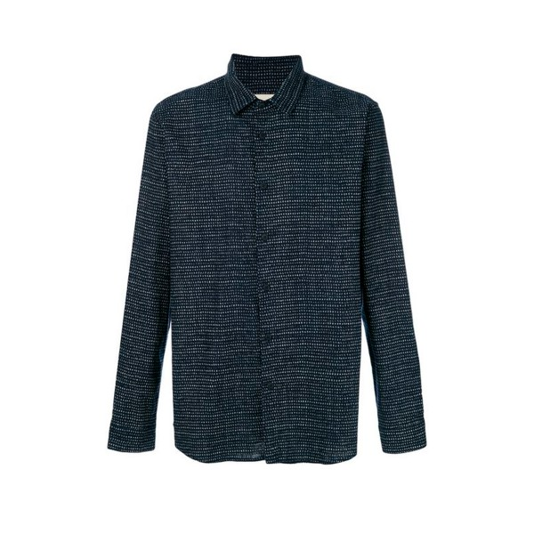 Folk Storm Shirt (Indigo Irregular Dot)
