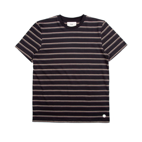Folk Striped T-Shirt (Black/Sandstone/Ecru)