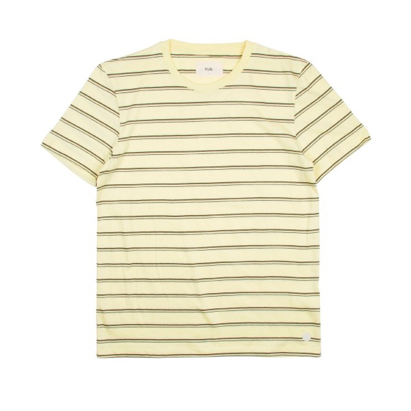 Folk Striped T-Shirt (Pale Lemon/Olive/Black)