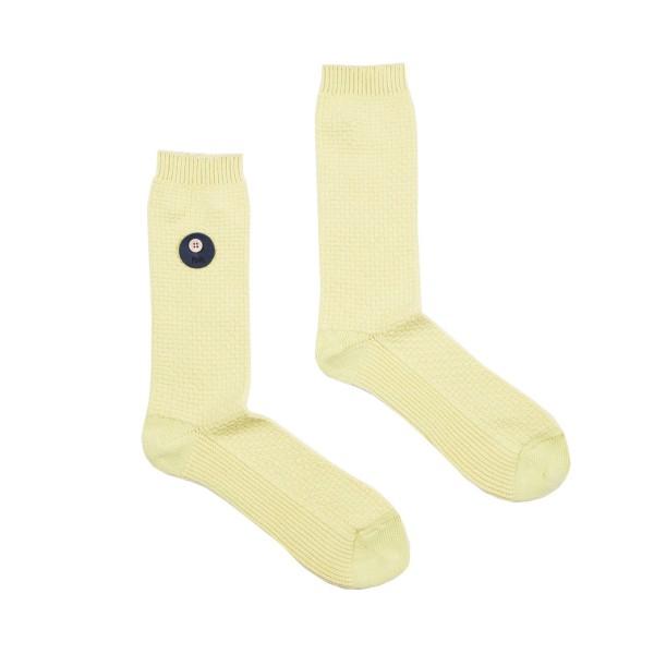 Folk Waffle Socks (Pale Lemon)