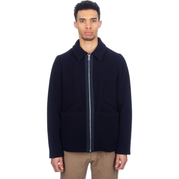 Folk Wool Note Short Jacket (Navy)