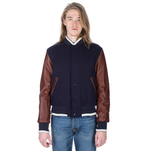 Golden Bear Sportswear Set-In Sleeve Varsity Jacket (Navy Virgin Wool/Cognac Leather)