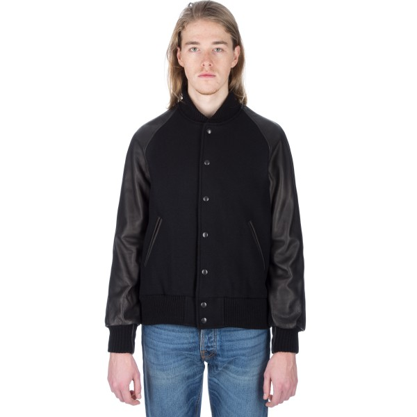 Golden Bear Sportswear Raglan Sleeve Varsity Jacket (Black Virgin Wool/Black Leather)