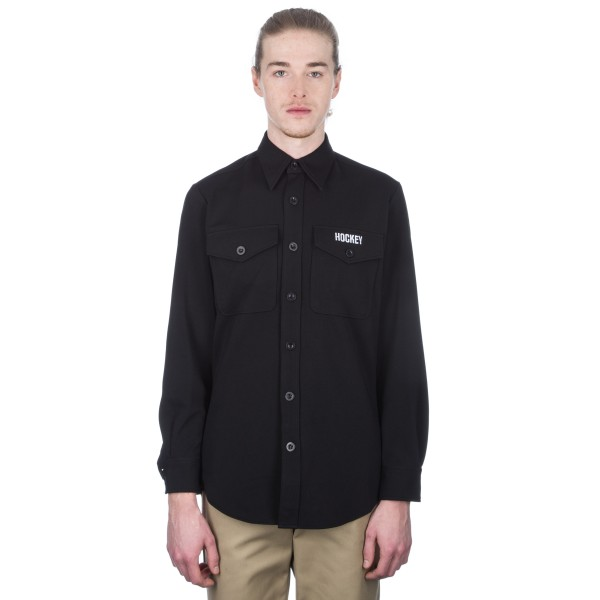 Hockey Stay Press Button Down Shirt (Black)
