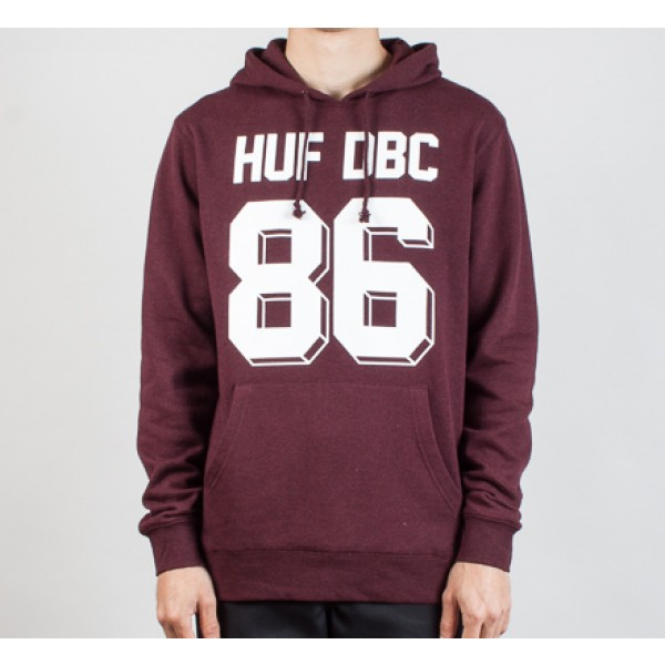 HUF Franco Pullover Hooded Sweatshirt (Burgundy Heather)