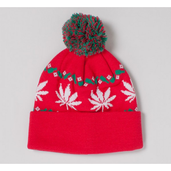 HUF Nordic Leaves Beanie (Red)
