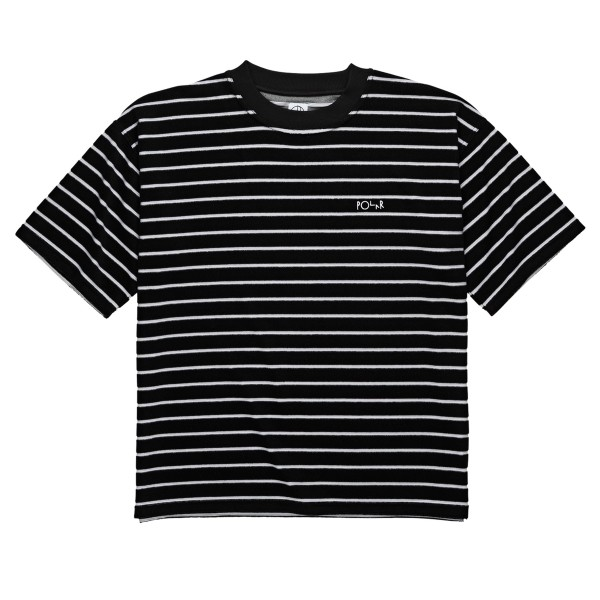 Polar Skate Co. Striped Terry Surf T-Shirt (Black/Light Grey)