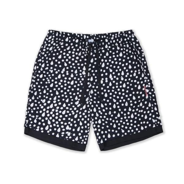 Magic Castles Two Layer Shorts (Black & White Pear Dot Print)