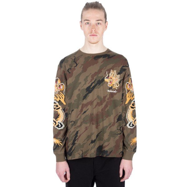 Maharishi Camo Golden Dragon Embroidered Long Sleeve T-Shirt (Bonsai Forest Woodland)