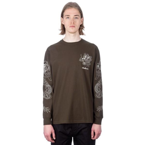 Maharishi Stencil Dragon Long Sleeve T-Shirt (Mil Olive)