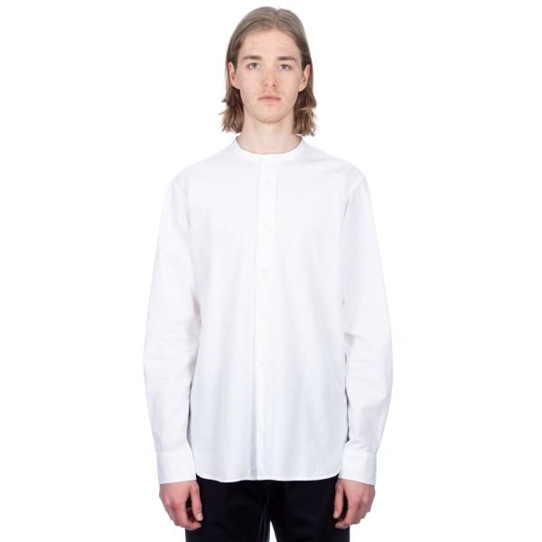 MHL by Margaret Howell Collarless Shirt (Dense Twill White)