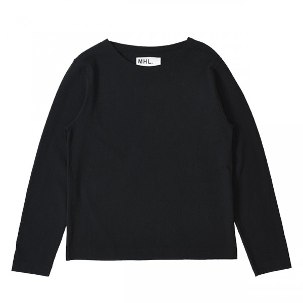 MHL by Margaret Howell Heavy Cotton Crew Long Sleeve T-Shirt (Ink)