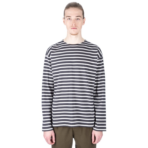 MHL by Margaret Howell Matelot Long Sleeve T-Shirt (Charcoal/Off White)