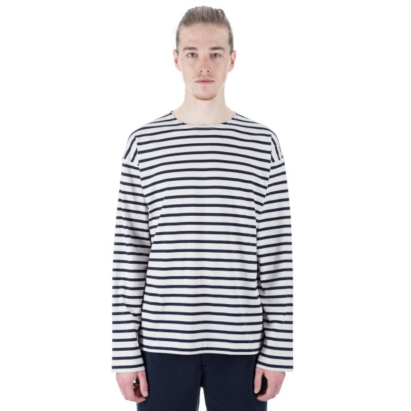 MHL by Margaret Howell Matelot Long Sleeve T-Shirt (Off White/Indigo)