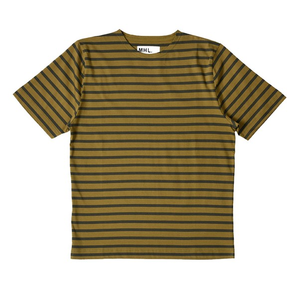 MHL by Margaret Howell Matelot Naval Stripe Jersey T-Shirt (Faded Khaki/Olive)