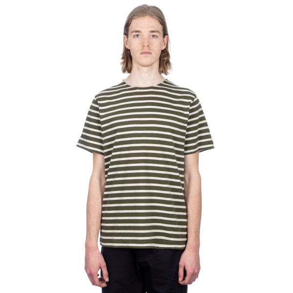 MHL by Margaret Howell Matelot T-Shirt (Naval Stripe Jersey Fern Green/Putty)