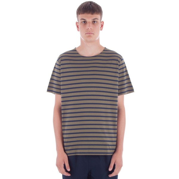 MHL by Margaret Howell Naval Stripe Matelot T-Shirt (Khaki/Navy)