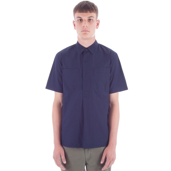 MHL by Margaret Howell Pleat Back Work Shirt (Indigo Poplin)