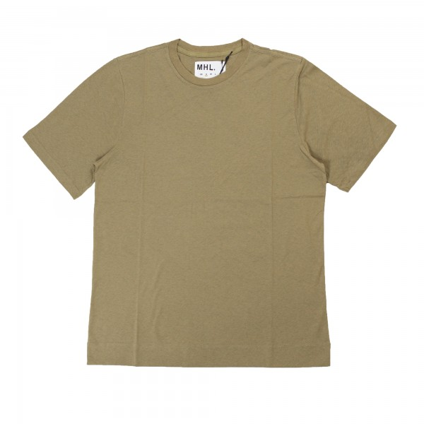 MHL by Margaret Howell Cotton Linen Jersey Basic T-Shirt (Faded Khaki)