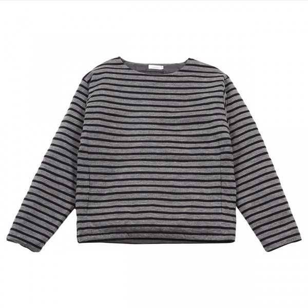 Nanamica Down Sweater (Heather Grey Stripe)