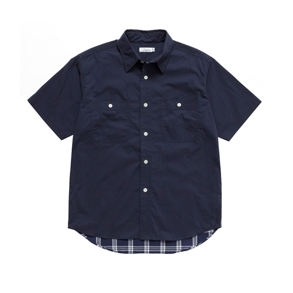 nanamica H/S Check Wind Shirt (Navy)