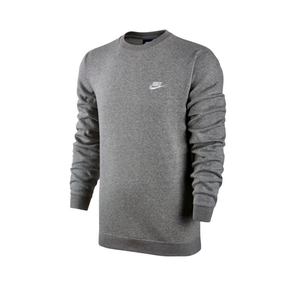 Nike Club Crew Neck Sweatshirt (Dark Grey Heather/White)