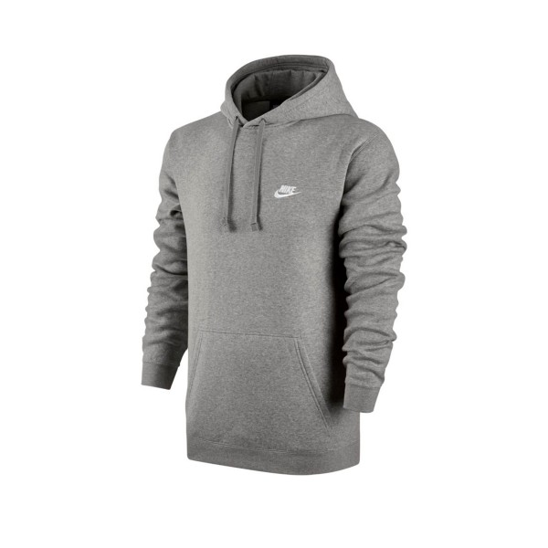 Nike Club Pullover Hooded Sweatshirt (Dark Grey Heather/Dark Grey Heather/White)