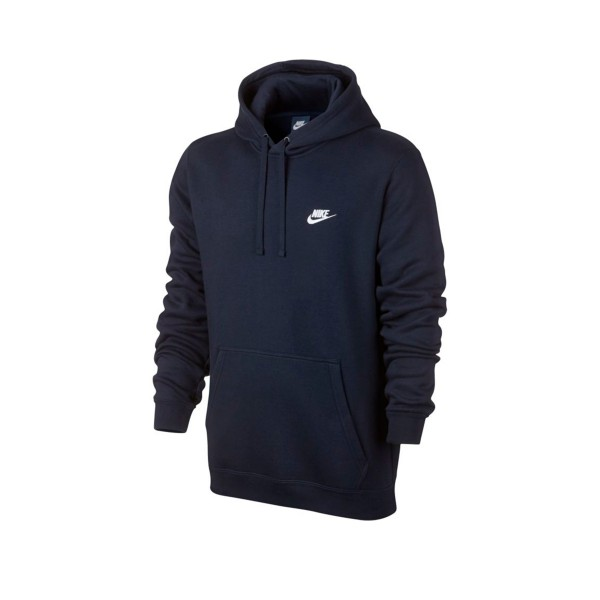 Nike Club Pullover Hooded Sweatshirt (Obsidian/Obsidian/White)