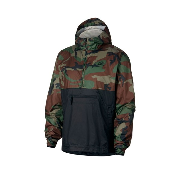 Nike SB Camo Anorak Jacket (Medium Olive/Black/Black)