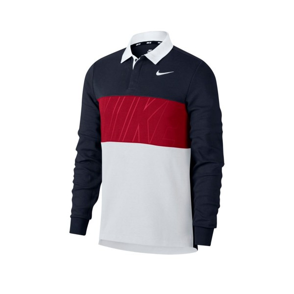 Nike SB Dry Long Sleeve Polo Shirt (Obsidian/Team Crimson/White/White)