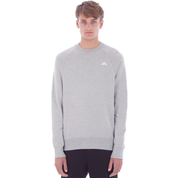 Nike SB Icon Crew Neck Sweatshirt (Dark Grey Heather/White)