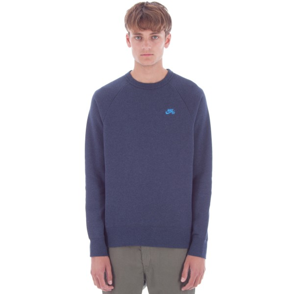 Nike SB Icon Crew Neck Sweatshirt (Obsidian Heather/Light Photo Blue)