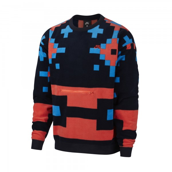 Nike SB Icon Fleece Crew Neck Sweatshirt (Dark Obsidian/Bright Crimson)
