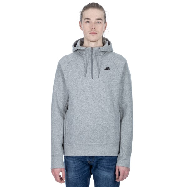 Nike SB Icon Half-Zip Pullover Hooded Sweatshirt (Dark Grey Heather/Black)
