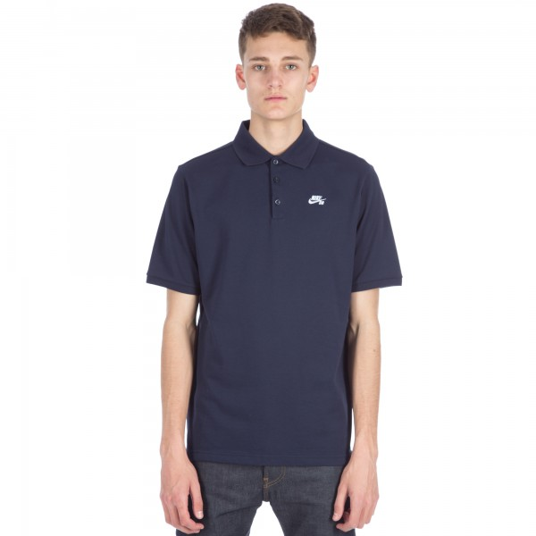 Nike SB Pique Short Sleeve Polo Shirt (Obsidian/White)