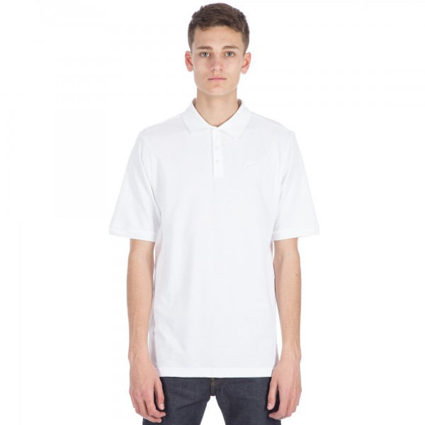 Nike SB Pique Short Sleeve Polo Shirt (White/White)