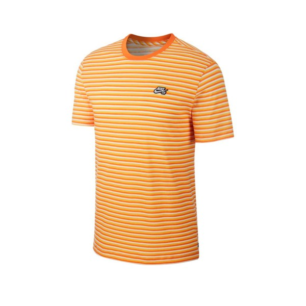 Nike SB Striped T-Shirt (White/Cinder Orange/White)