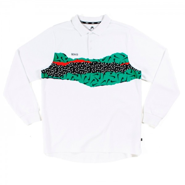 Nike SB x Ben-G Dry Long Sleeve Polo Shirt (White/Black)