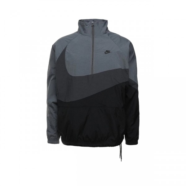 Nike Swoosh Woven Half-Zip Jacket (Black/Anthracite/Dark Grey/Anthracite)