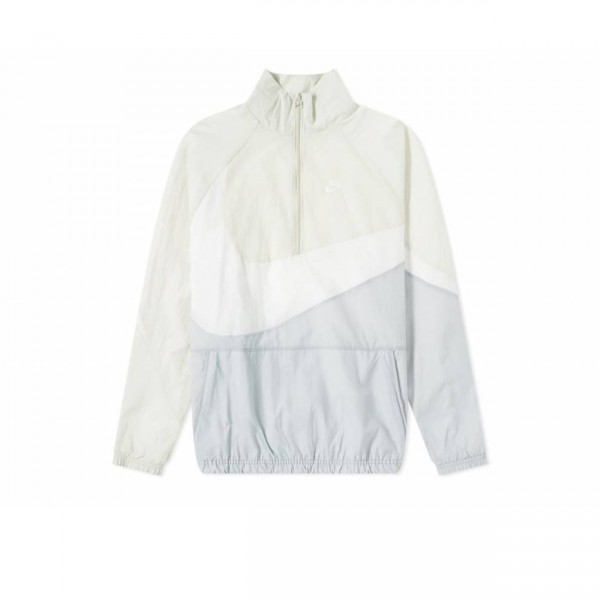 Nike Swoosh Woven Half-Zip Jacket (Wolf Grey/White/Light Bone/White)